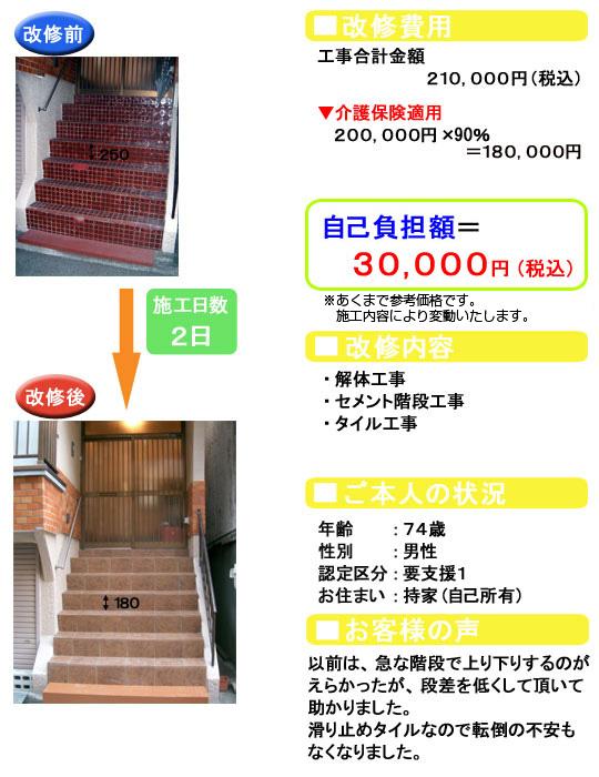 解体/セメント階段/タイル/手すり取付