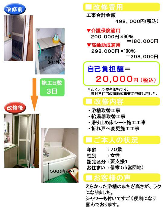 浴槽取替/給湯器取替/滑り止め床シート/折れ戸へ変更